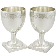 1800s Georgian Pair of Sterling Silver Goblets