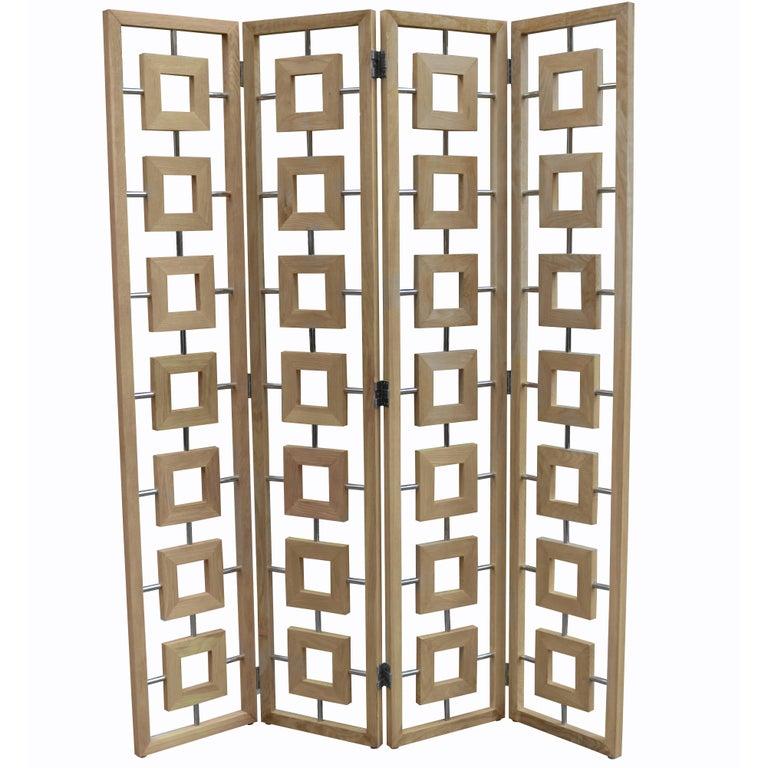 Modernist Four-Panel Folding Screen For Sale