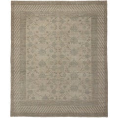 New Modern Khotan Rug with Transitional Style and Muted Colors