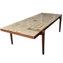 Mid-Century Marble-Top Coffee Table, Scandinavian