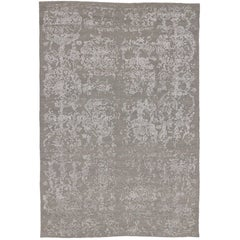 New Modern Soumak Gray Rug with Erased Design