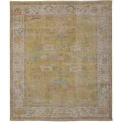 Modern Yellow Oushak Rug with Transitional Style