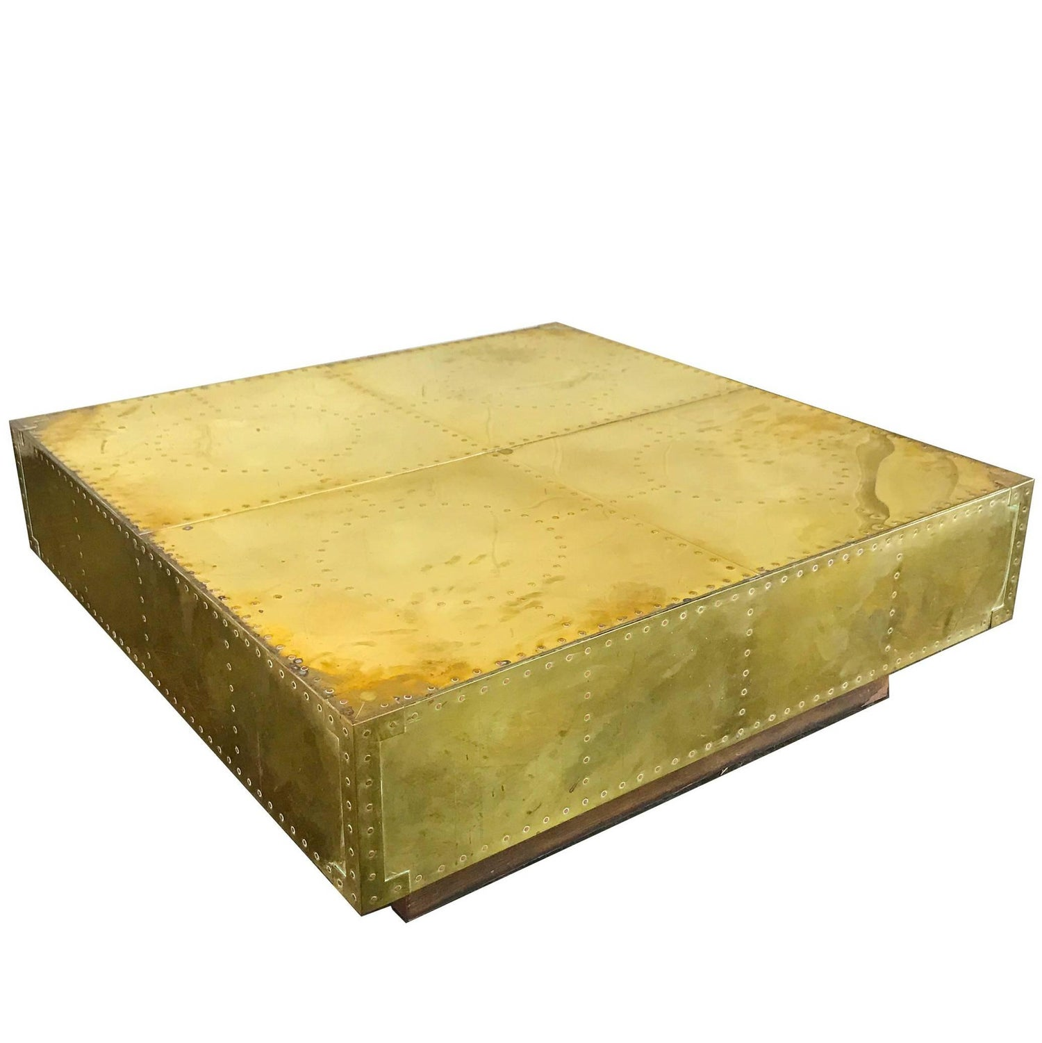 Square Coffee Table in Brass and Black Lacquer Oak by Sarreid Ltd