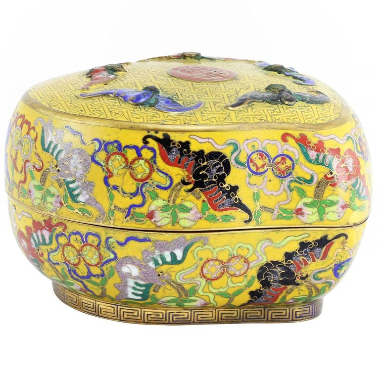 Chinese Cloisonné Box in the Shape of a Peach