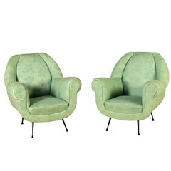 Pair of Armchairs Foam Spring Fabric Vintage, Italy, 1950s-1960s