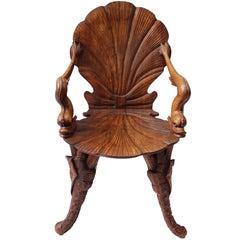 19th Century Italian Carved Walnut Grotto Chair