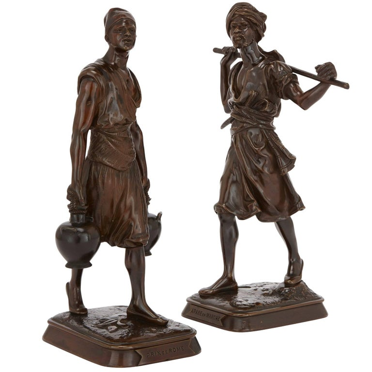 Pair of Orientalist Style Patinated Bronze Sculptures by Debut and Pinedo