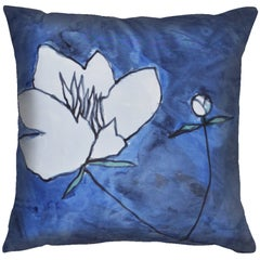 Unique Contemporary Double-Sided Gestural Peonies in Blue Handmade Silk Pillow