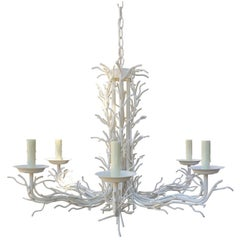 Small White Iron Coral Chandelier, circa 1970s