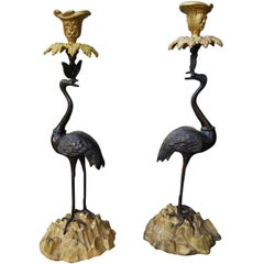 Pair of 20th Century Classic Bronze Crane on Rock Candlesticks