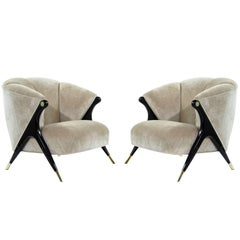 Modernist Karpen Lounge Chairs in Beige Chenille