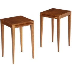 Pair of French Art Deco Walnut Side Tables