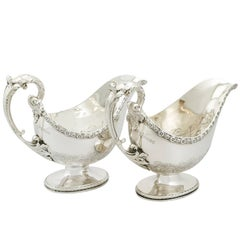 1800s Antique Pair of Sterling Silver Sauceboats