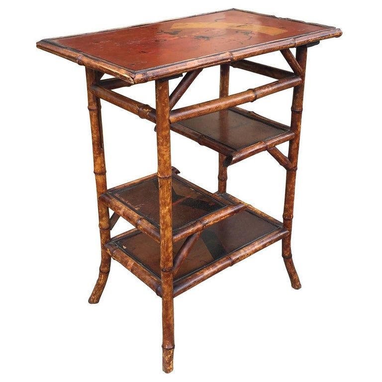Small chinese bamboo side table with painted shelves for Bamboo side table