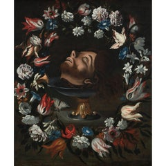 Head of Saint John the Baptist Painting with Garland of Flowers