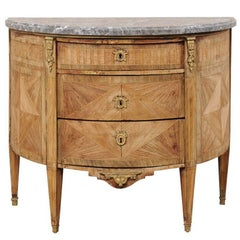 French 19th Century, Demilune Chest with Honed Marble and Marquetry Wood Details