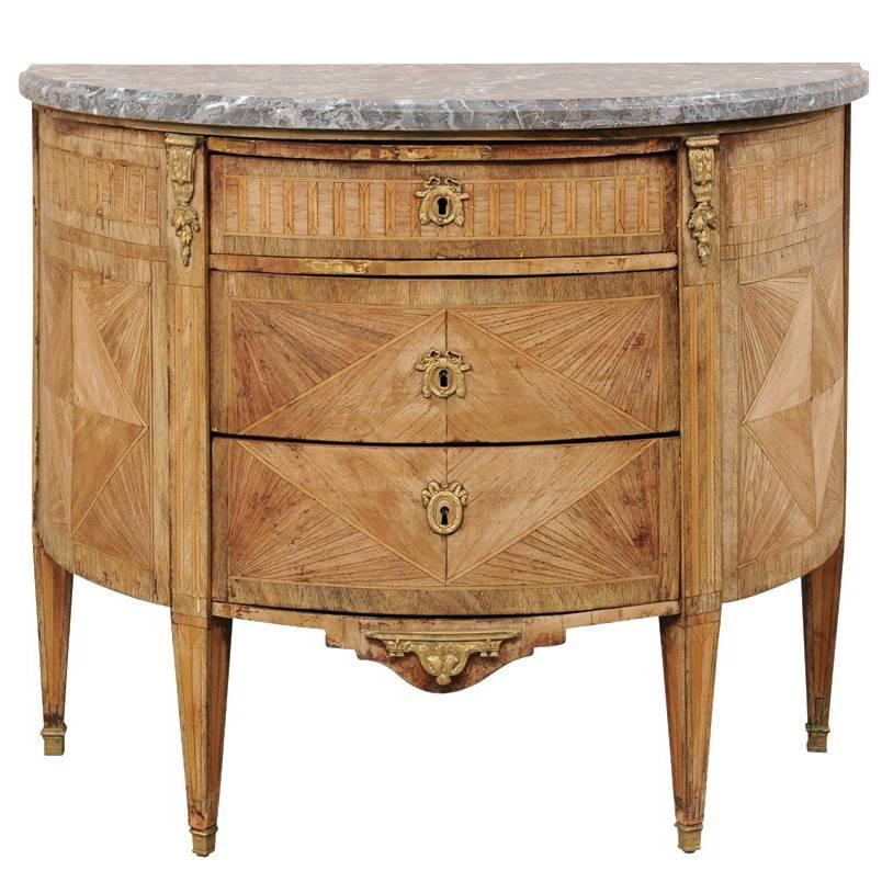 French 19th Century, Demilune Chest With Honed Marble And Marquetry Wood  Details For Sale