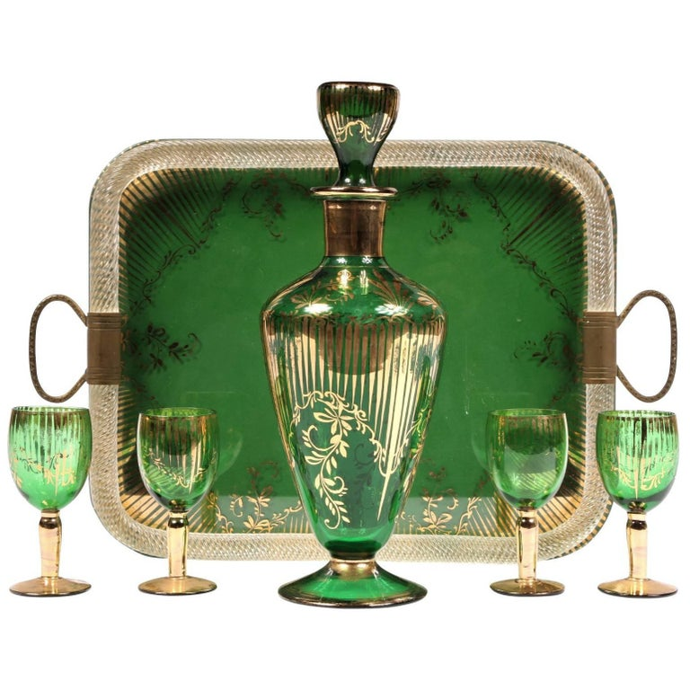 Vintage Colored Crystal Cordial Set with Tray For Sale