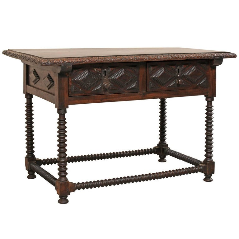 Spanish Early 18th Century Walnut Wood Desk with Spindled Legs and Box Stretcher