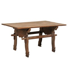 18th Century Spanish Walnut Wood Table with Uniquely Carved Trestle End Supports