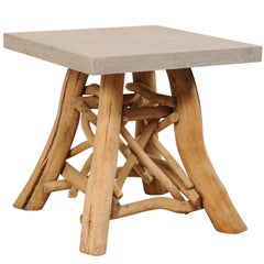 European Rustic Natural Tree Branch Occasional Table with Honed Stone Top