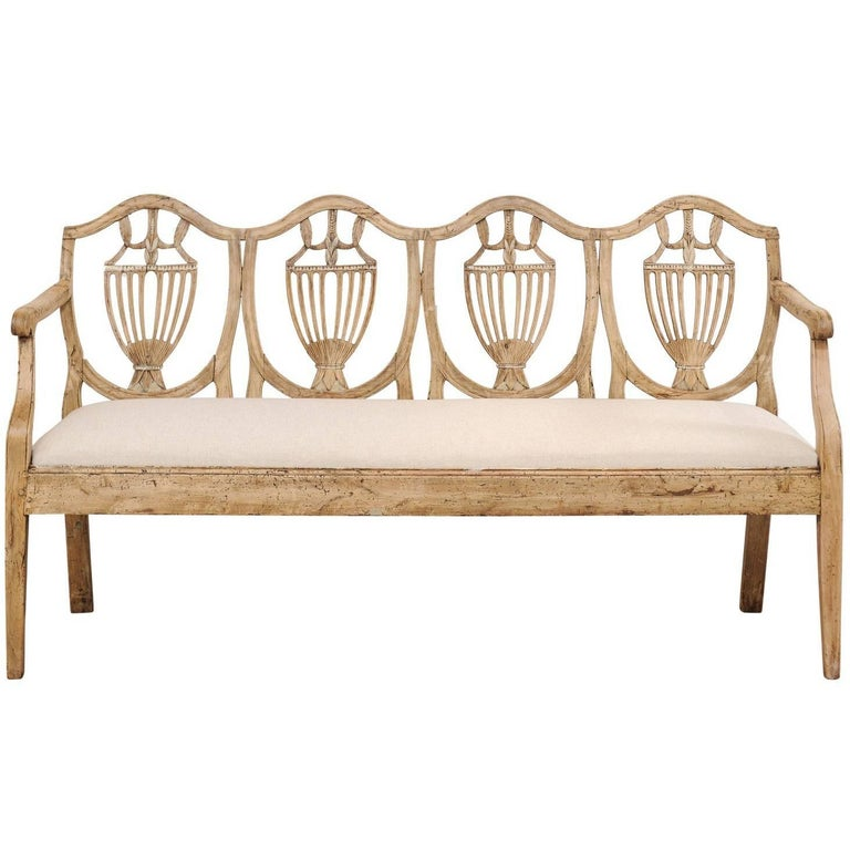 18th Century Italian Bleached Fruitwood Sofa Bench with Urn Motif Back Splat