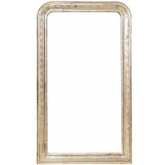 French Louis Philippe Style Silver Gilt Mirror from the Late 19th Century