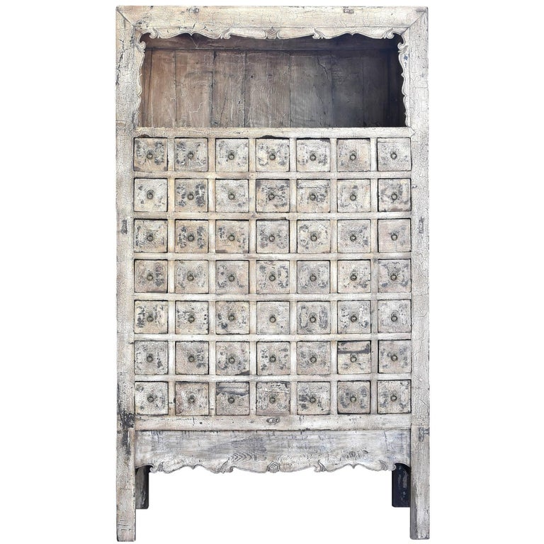 Antique White Apothecary Cabinet, Chinese, 19th Century