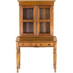 Antique Cabinet Victorian Bookcase Walnut Slant Front Desk, Scotland