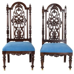 Pair of Antique Anglo-Indian or British Colonial Rosewood Low Chairs