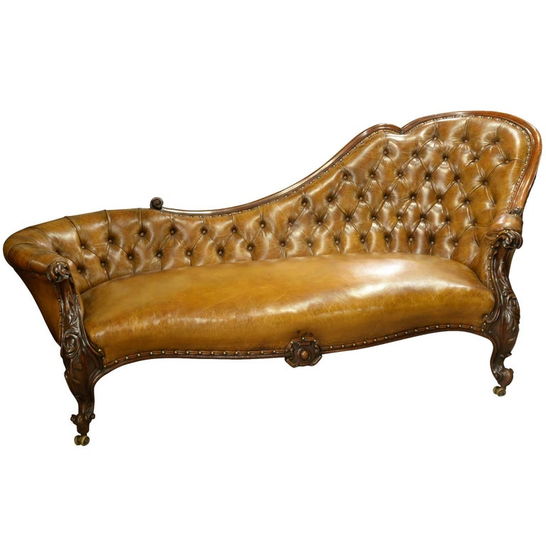 deep buttoned chestnut leather chaise longue for sale at 1stdibs. Black Bedroom Furniture Sets. Home Design Ideas