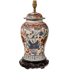 Mid-20th Century Porcelain Lidded Vase Lamp in the Imari Palette
