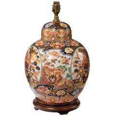 Early 20th Century Imari Porcelain Vase Lamp with a Shaped Top