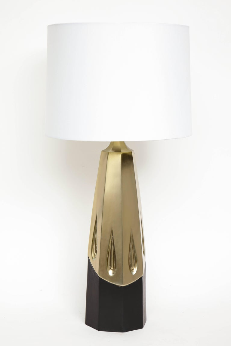 Mid-Century Modern Laurel Brutalist Brushed Brass Lamps For Sale