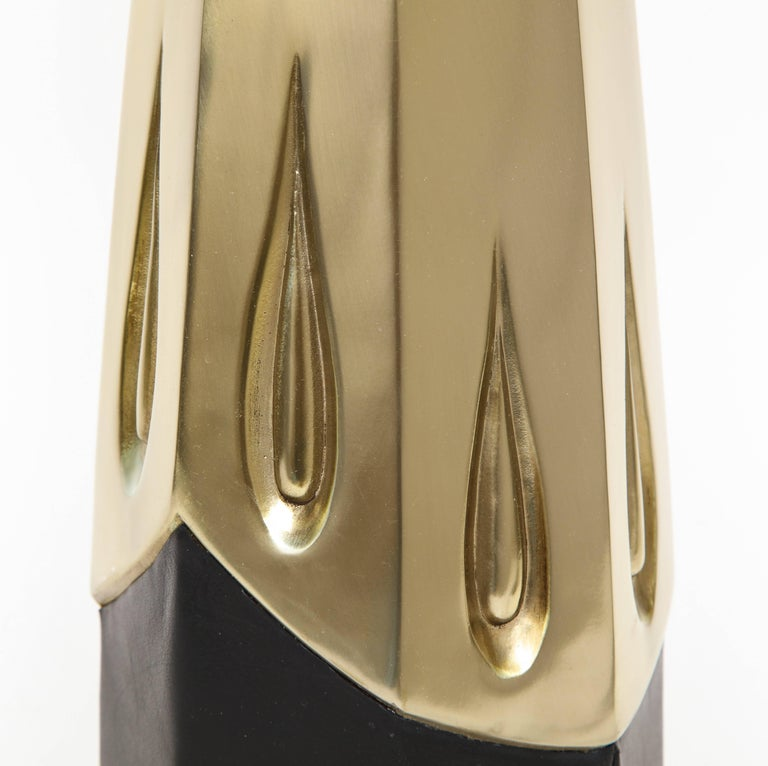 Laurel Brutalist Brushed Brass Lamps For Sale 2