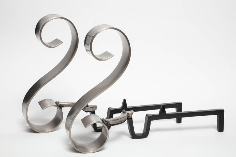 Brushed Art Deco Nickel Scroll Andirons For Sale
