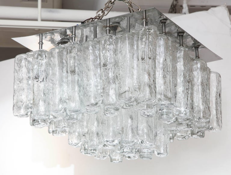 """Scandinavian Modern flush mount fixture featuring 16 blown glass """"Ice"""" pieces each housing a candelabra bulb, suspended on a polished nickel plate. Rewired for use in the USA."""