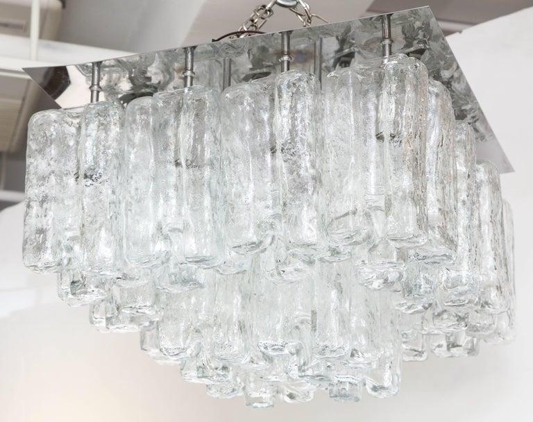 Scandinavian Modern Kalmar Ice Glass Flush Mount For Sale