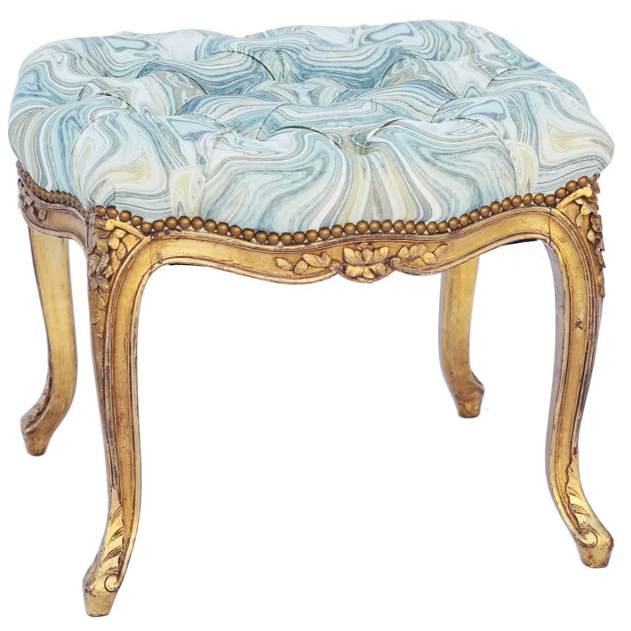 19th Century Louis XV Giltwood Bench