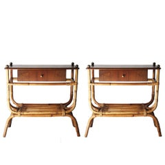 Pair of Night Tables with Bamboo Structure, Italia, 1960