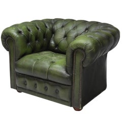 Vintage Chesterfield Club Armchair Green Leather