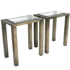 Pair of Italian Modern Metal Console Tables with Inset Lucite Tops, circa 1970s