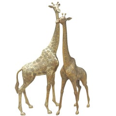 Extra Large Pair of Brass Giraffes in the Style of Maison Jansen