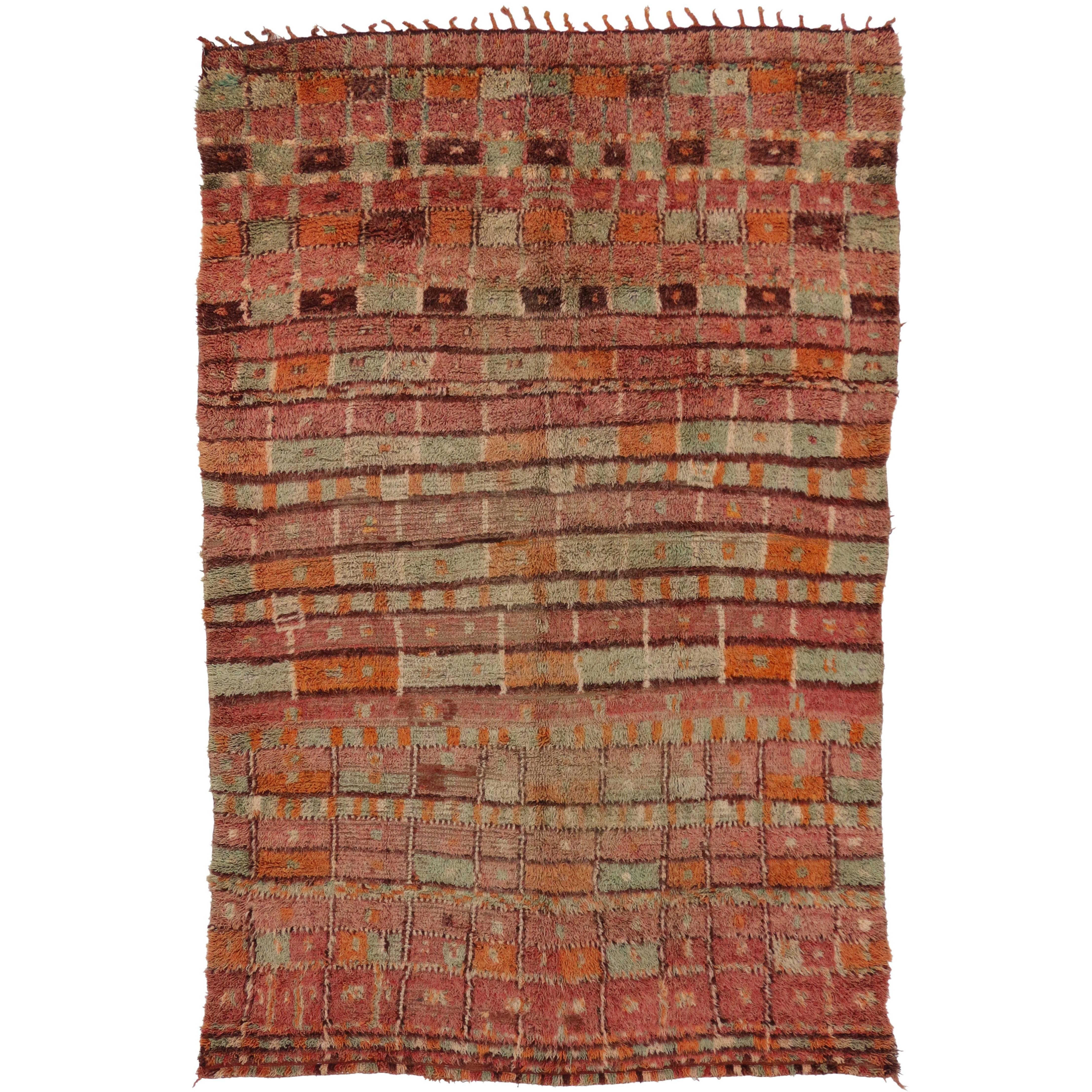 Vintage Berber Moroccan Boujad Rug with Post-Modern Cubism Style