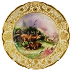 Dresden Antique Hand-Painted Game Cabinet Plate Animal Gilt Lamm Studio