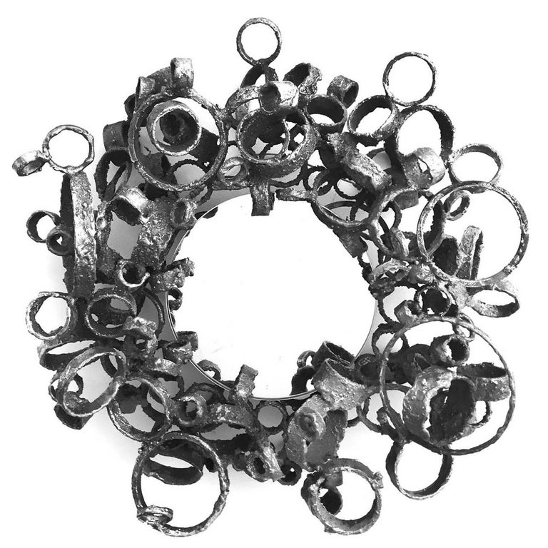Small Torch-Cut Welded Steel Ring Mirror by James Bearden