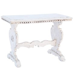 Painted 19th Century Trestle Side Table