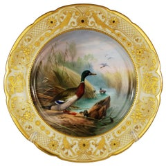Antique Cabinet Game Bird Plate Hand-Painted Gilt Attributed to Lamm Studio
