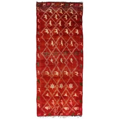 High Five Vintage Berber Moroccan Hallway Runner, Extra-Long Shag Red Runner