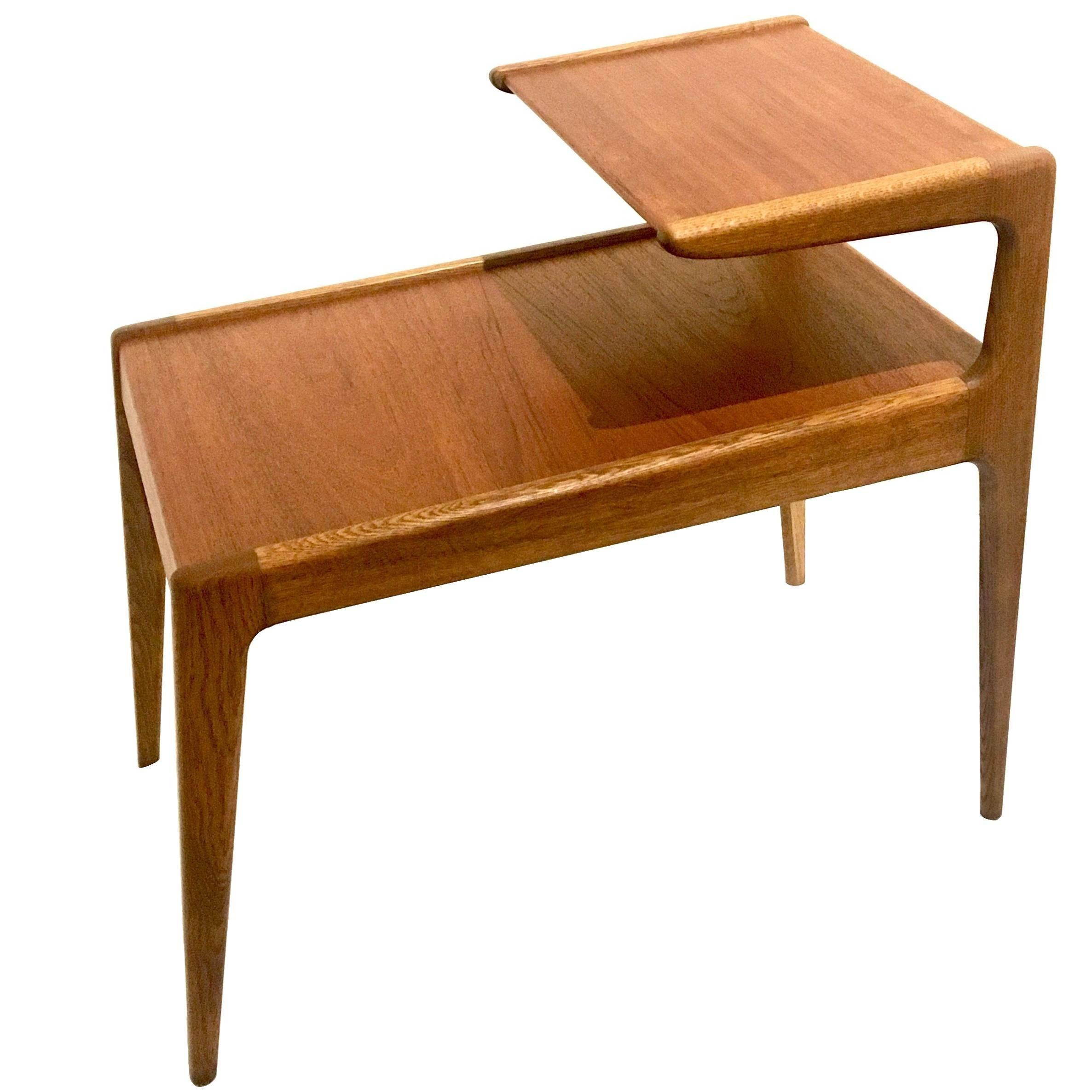 Danish Modern Teak And Oak Step End Table